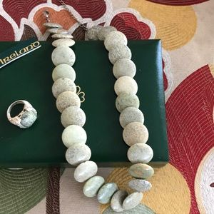 Green stone necklace & matching ring